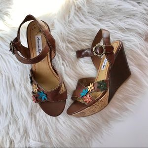 American Eagle Flower Appliqué Cork Wedge Sandals
